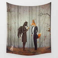 Raven and Fox in  a dark forest looking at the watch Wall Tapestry
