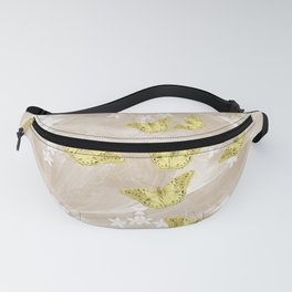 Gold butterflies on stormy iced-coffee flower mandala Fanny Pack