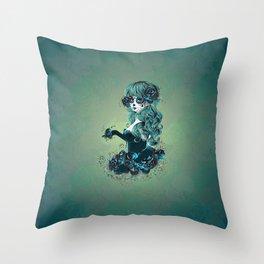 Sugar skull girl in blue Throw Pillow
