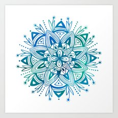 Mandala - Blue Green Watercolor Art Print