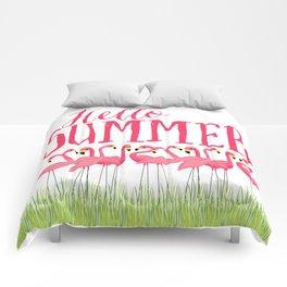 Cuban Pink Flamingos Comforters