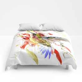 Flying Hummingbird and red tropical foliage Comforters