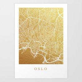 Gold Oslo map Art Print