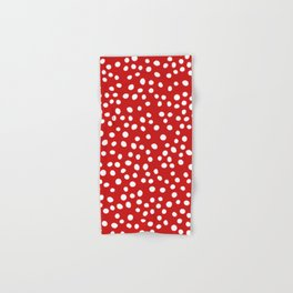 Red and white doodle dots Hand & Bath Towel