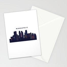 City landscape of Minneapolis, Minnesota Stationery Cards