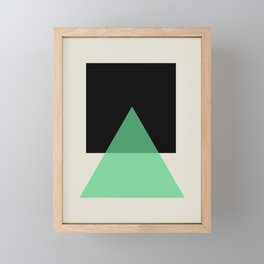 Abstract #14 Green, Black and Beige Framed Mini Art Print
