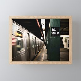 Speeding Subway Train Framed Mini Art Print