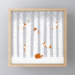 Playing in the snow Framed Mini Art Print