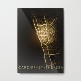 cardiff by the sea California city night light map Metal Print