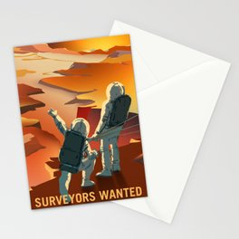 Surveyors Wanted Explore Mars and its Moons Travel Poster Stationery Cards