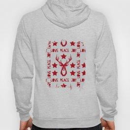 Love Peace Joy Deer Knitted Pattern Hoody