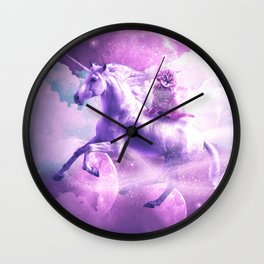 Kitty Cat Riding On Flying Space Galaxy Unicorn Wall Clock