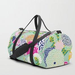 Chinoiserie Decorative Floral Motif Pale Mint Duffle Bag