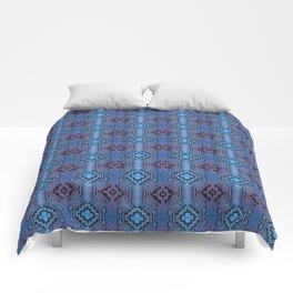 Blue Southwestern Style Doodle Pattern Comforters