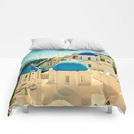 Santorini Greece Famous Blue Domes Comforters