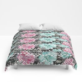 Vintage black pink teal watercolor floral lace Comforters