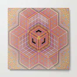 Flower of Life Tesseract Metal Print