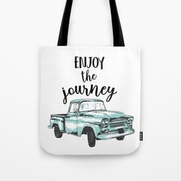 """""""Enjoy the Journey"""" Quote and Vintage Truck Tote Bag"""