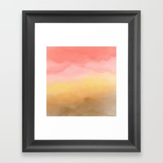 Boho pink brown ombre watercolor desert abstract paint Framed Art Print