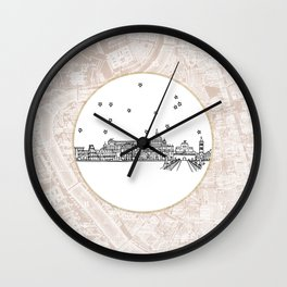 Roma (Rome), Italy, Europe City Skyline Illustration Drawing Wall Clock