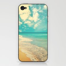 Waves of the sea (retro beach and blue sky) iPhone & iPod Skin