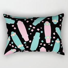 Pastel Skateboards Pattern - Pastel on Black Rectangular Pillow