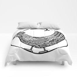 Chicken Boho Black ink Paisley art Comforters