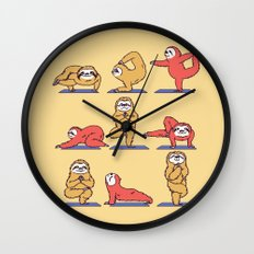 Sloth Yoga Wall Clock