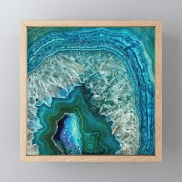 Aqua turquoise agate mineral gem stone - Beautiful Backdrop Framed Mini Art Print