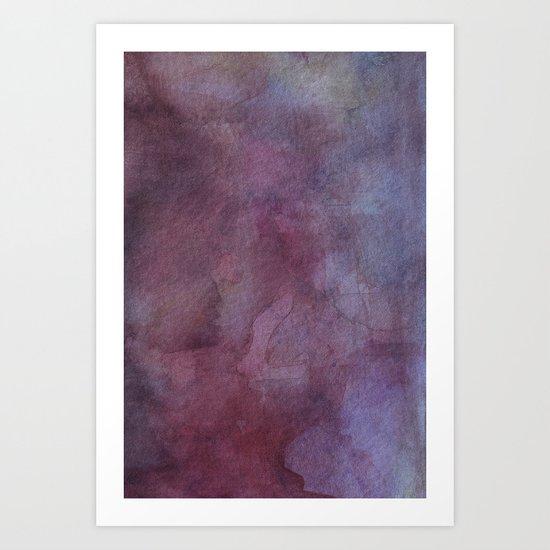 Purple Watercolor Nebula Galaxy Sky Art Print
