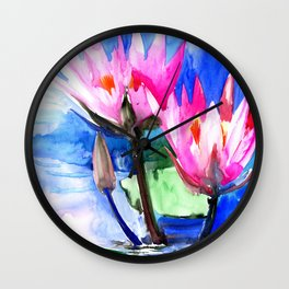 Pink Water lilies , lotus, lily pad, Bright Pink Blue Floral Wall Clock