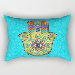 Colorfull  Hamsa Hand with paisley Rectangular Pillow