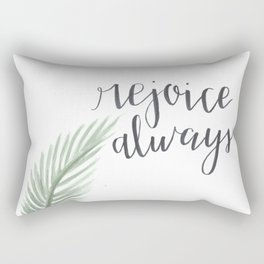 rejoice always // watercolor bible verse palm branch Rectangular Pillow