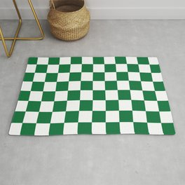 Checkered (Dark Green & White Pattern) Rug