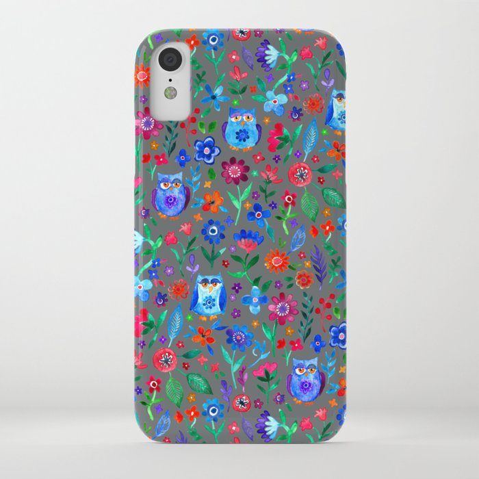 Little Owls and Flowers on Grey iPhone Case