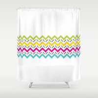 austin Shower Curtains featuring Chevron Austin by Black Oak ATX