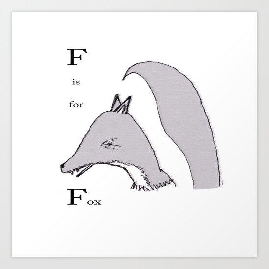 'F' Is For Fox Art Print