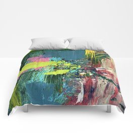 Excited: a vibrant, colorful, dynamic acrylic piece in various colors Comforters