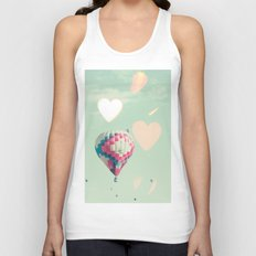 Hot air balloons nursery and heart bokeh on pale blue Unisex Tank Top