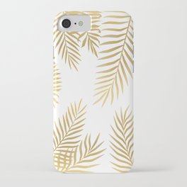 Gold palm leaves iPhone Case