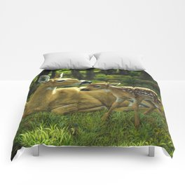 Whitetail Deer and Cute Spring Fawn Comforters
