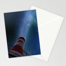Lighthouse under starry sky Stationery Cards