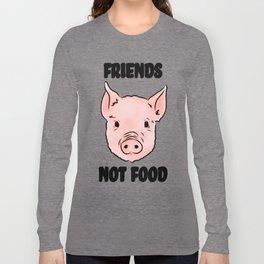 Cute Pig Vegan Friends Not Food Illustration Long Sleeve T-shirt