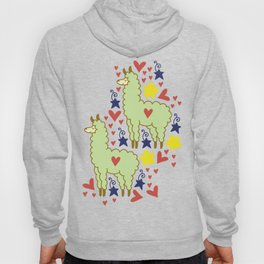 Funny colorful alpacas with hearts, stars and flowers pattern Hoody