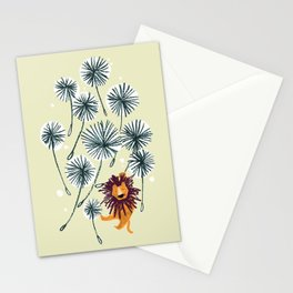 Lion on dandelion Stationery Cards