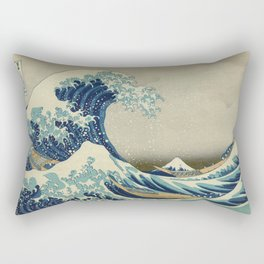 Great Wave Off Kanagawa (Kanagawa oki nami-ura or 神奈川沖浪裏) Rectangular Pillow
