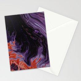 Black Purple Orange Abstract Art Stationery Cards