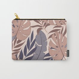 Original seamless tropical pattern with bright plants and leaves on a beige background. Exotic wallpaper. Seamless exotic pattern with tropical plants. Hawaiian style. Carry-All Pouch