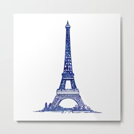 Eiffel Tower Purple Metal Print
