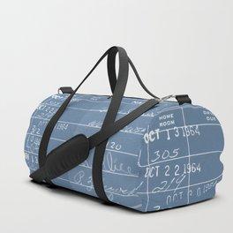 Library Card 23322 Negative Blue Duffle Bag